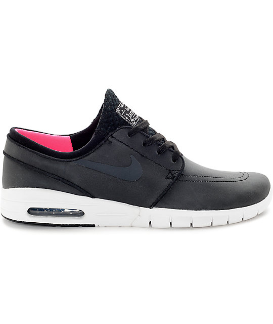 Nike SB Stefan Janoski Air Max Black, Anthracite, & White Leather Skate Shoes