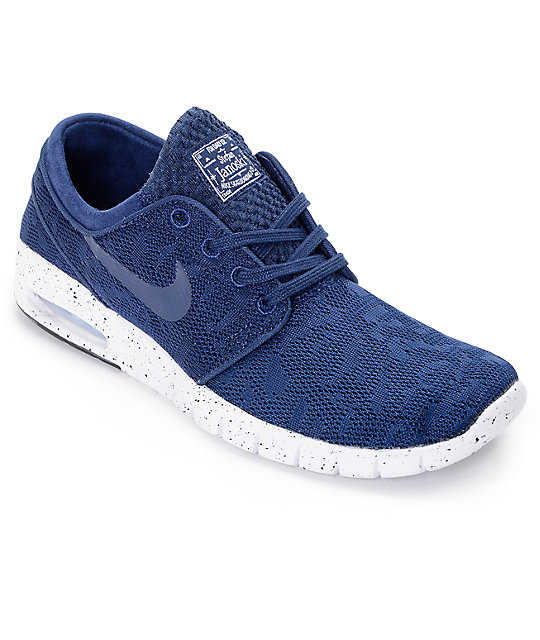 Nike SB Stefan Janoski Air Max Midnight Navy & White Mesh Skate Shoes