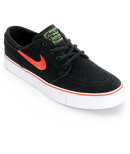 Nike SB Stefan Janoski Black & Light Crimson Boys Skate Shoes