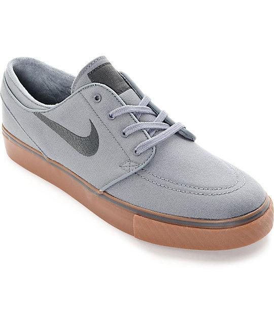 Nike SB Stefan Janoski Cool Grey, Black & Gum Canvas Skate Shoes