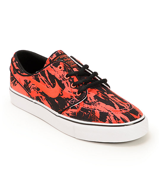 Nike SB Stefan Janoski GS Black & Lazer Crimson Boys Skate Shoes