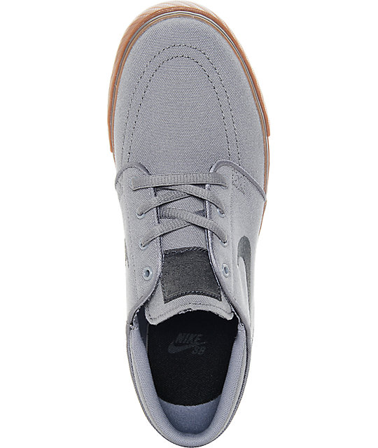 Nike SB Stefan Janoski Grey & Gum Canvas Boys Skate Shoes