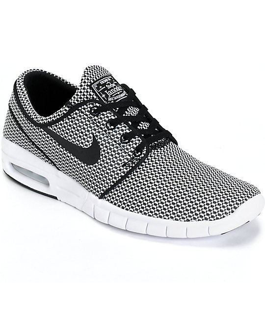 nike sb stefan janoski max black white shoes at zumiez pdp