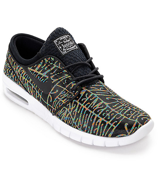 Nike SB Stefan Janoski Max Premium Tripper Black, White & Multicolored Shoes