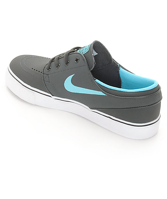 Nike SB Stephan Janoski Grey & Teal Nubuck Boys Skate Shoes