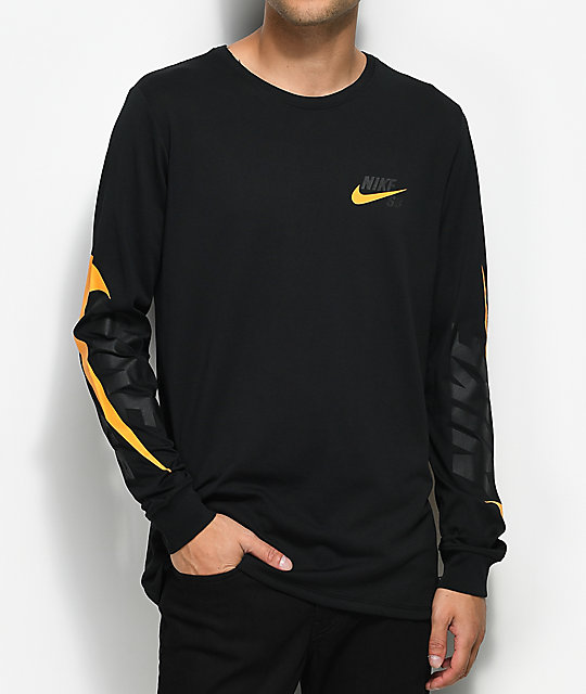 Nike SB Tonal Futura Black & Orange Long Sleeve T-Shirt | Zumiez
