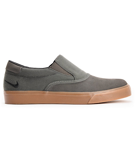 Nike SB Verona Midnight Fog & Gum Canvas Slip On Skate Shoes