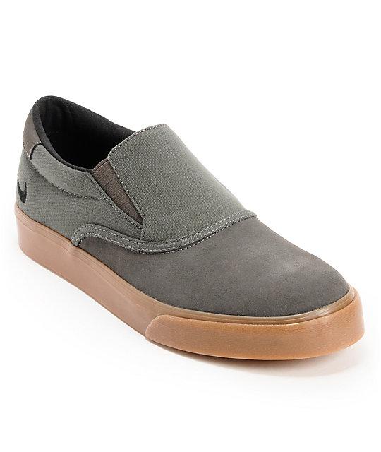 Nike SB Verona Midnight Fog & Gum Canvas Slip On Skate Shoes