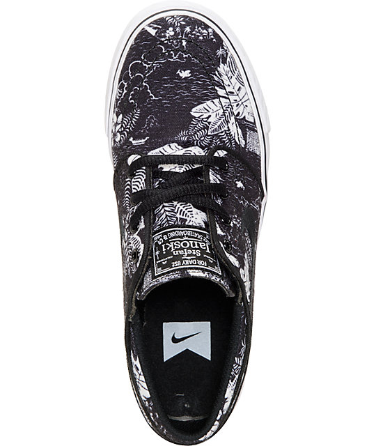 Nike SB Zoom Janoski GS Black & White Print Boys Shoes