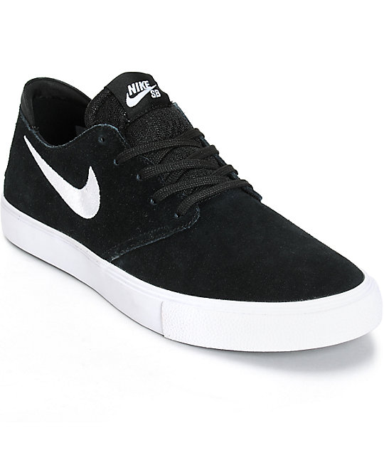 nike sb zoom oneshot black white suede skate shoes