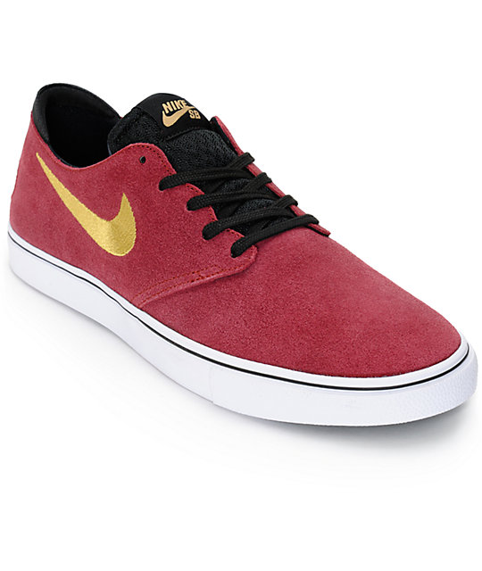 Nike SB Zoom Oneshot Team Red and Metallic Gold Skate Shoes