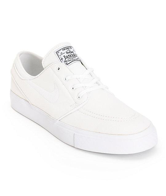 nike sb zoom stefan janoski all white canvas skate shoes