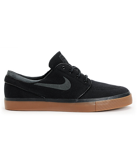 Fabuleux Nike SB Zoom Stefan Janoski Black, Anthracite, & Gum Canvas Shoes  QD48