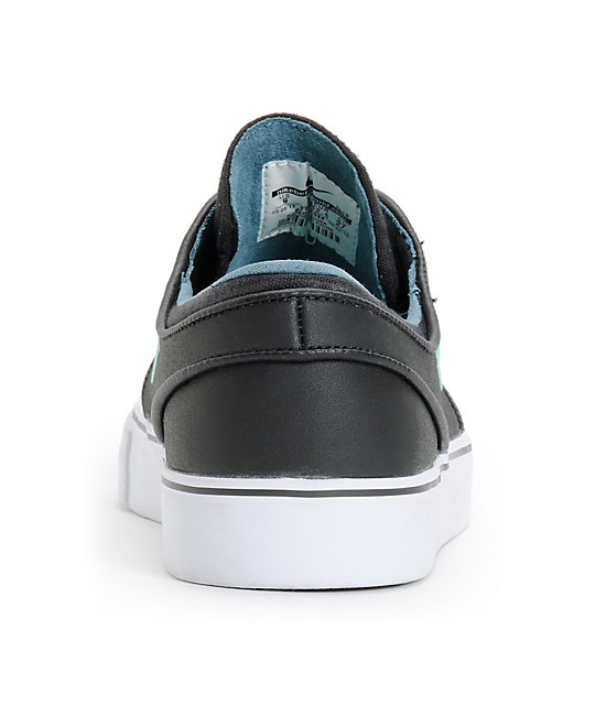 Nike SB Zoom Stefan Janoski Black, Crystal Mint, & Night Factor Leather Shoes