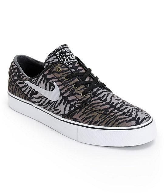 Nike SB Zoom Stefan Janoski Black, White, & Medium Olive Shoes