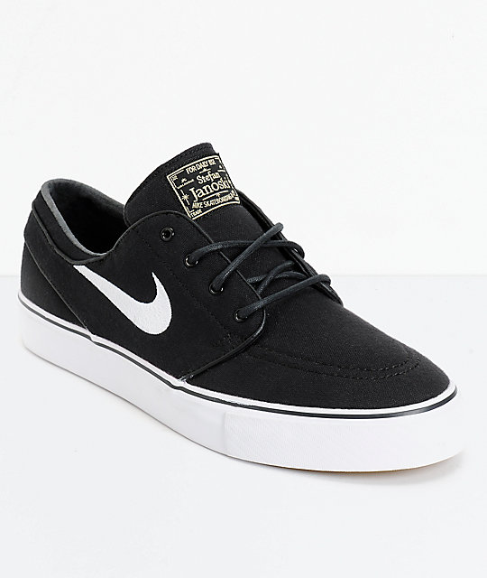 Top Nike SB Zoom Stefan Janoski Black & White Canvas Skate Shoes | Zumiez CS04