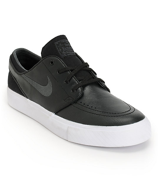 Nike SB Zoom Stefan Janoski Black & Anthracite Leather Shoes