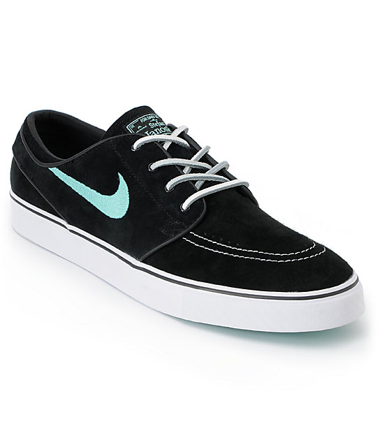 Nike SB Zoom Stefan Janoski Black & Mint Suede Shoes