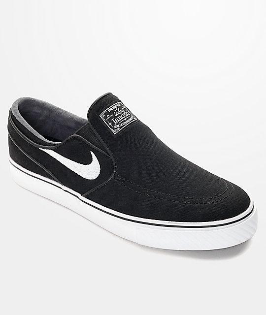 Nike SB Zoom Stefan Janoski Black & White Slip-On Skate Shoes at ...