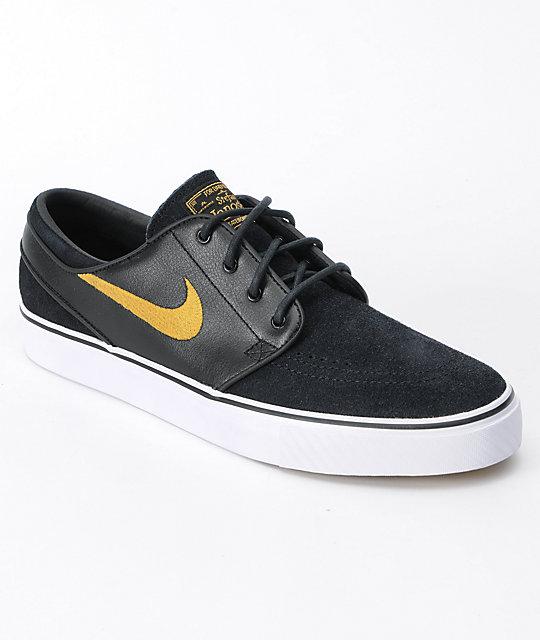 nike sb zoom stefan janoski black metallic gold shoes