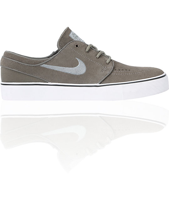 Nike SB Zoom Stefan Janoski Clay, Union Grey & White Suede Shoes