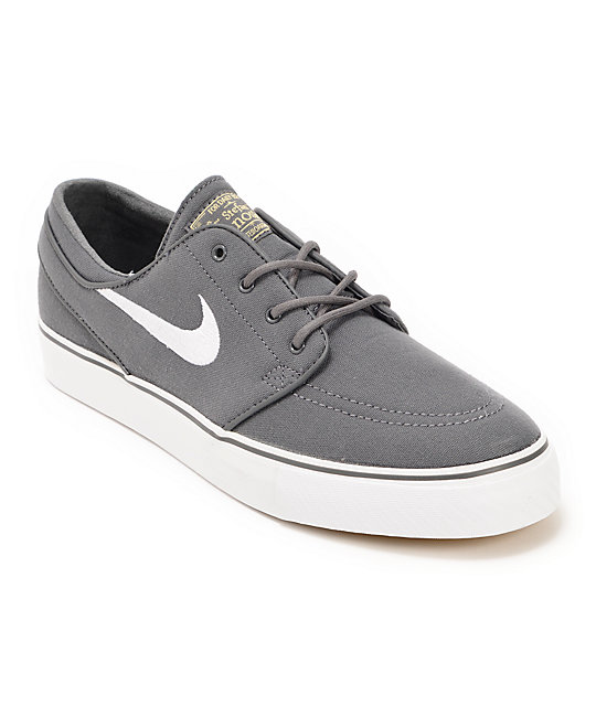 Nike SB Zoom Stefan Janoski Grey, White & Brown Canvas Skate Shoes