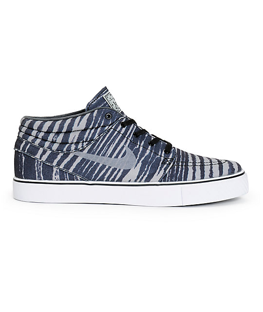 Nike SB Zoom Stefan Janoski Mid Base Grey Tiger Stripe Skate Shoes