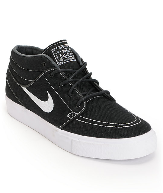 Nike SB Zoom Stefan Janoski Mid Black & White Canvas Skate Shoes