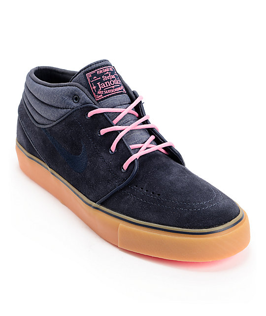 Nike SB Zoom Stefan Janoski Mid Dark Obsidian & Digital Pink Suede Shoes
