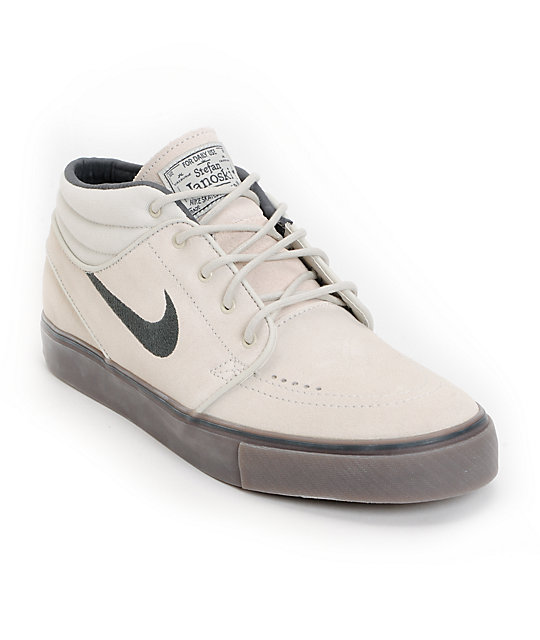 Nike SB Zoom Stefan Janoski Mid Light Bone & Dark Brown Suede Shoes