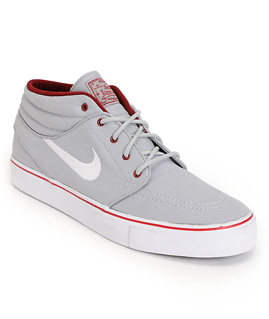 Nike SB Zoom Stefan Janoski Mid Wolf Grey & Red Canvas Skate Shoes