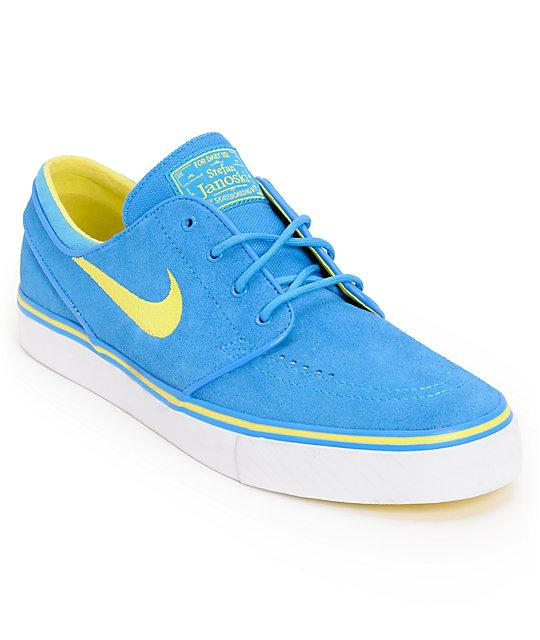 Nike SB Zoom Stefan Janoski Photo Blue & Yellow Suede Shoes