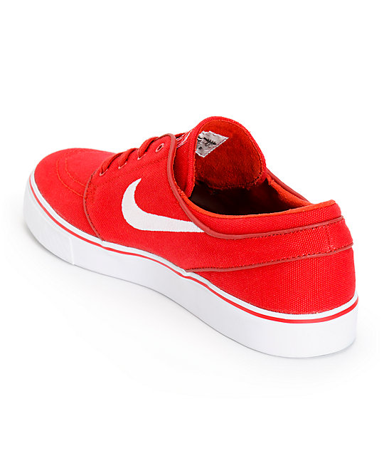 Nike SB Zoom Stefan Janoski Varsity Red & White Canvas Skate Shoes