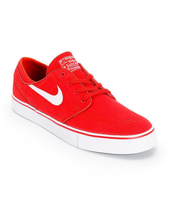 Nike SB Zoom Stefan Janoski Varsity Red & White Canvas Skate Shoes