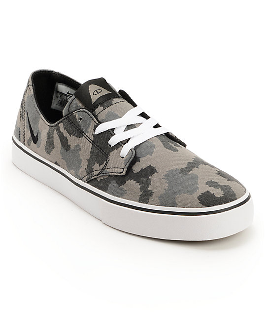 Nike SB x Poler Braata LR Black & Geyser Grey Camo Canvas Shoes