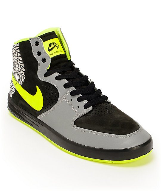 Nike SB x Primitive P-Rod 7 Hi Metallic Silver, Volt, Black Shoes