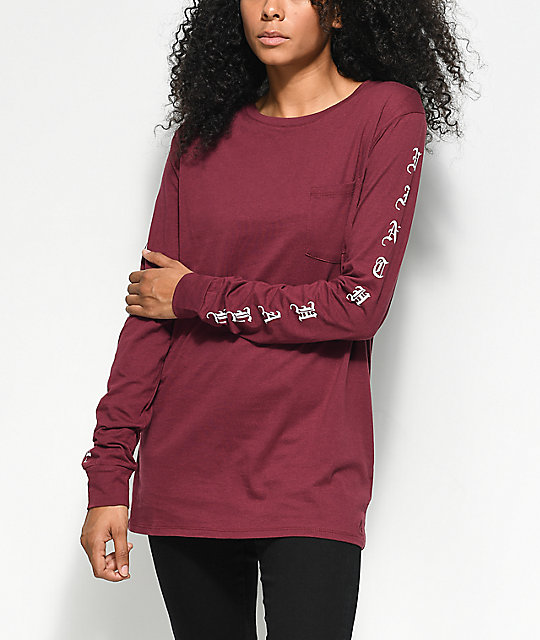 Ninth Hall Aiko Burgundy Long Sleeve T-Shirt