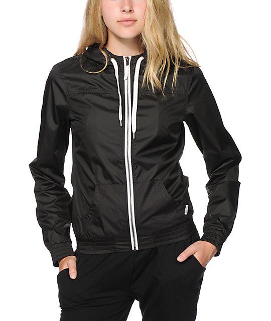 Womens Black Windbreaker Jacket - JacketIn