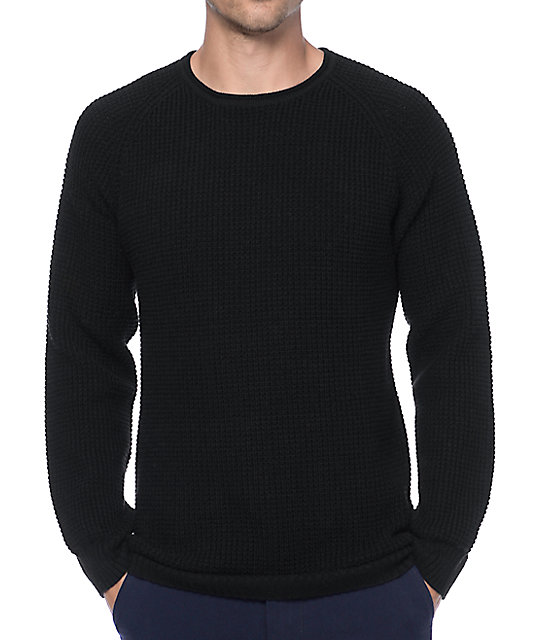 Ninth Hall Commando Black Waffle Knit Sweater | Zumiez