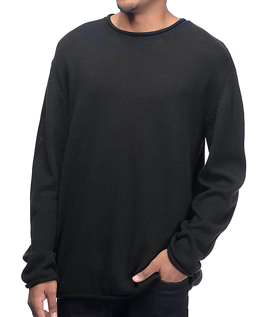 Ninth Hall Danzo Solid Black Crew Sweater | Zumiez