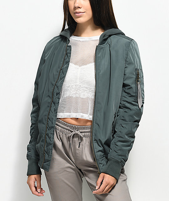 Ninth Hall Daya Urban Green Hooded Bomber Jacket | Zumiez