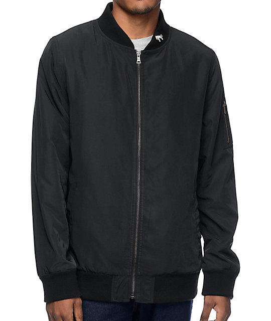 Ninth Hall Deprivation Black Nylon Bomber Jacket
