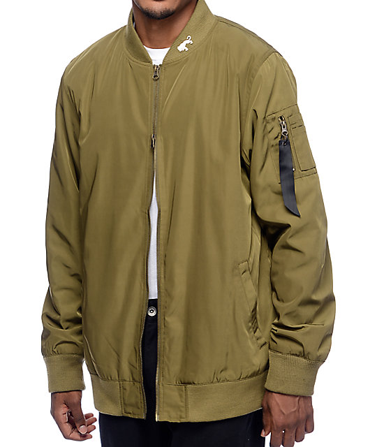 Ninth Hall Deprivation Olive Nylon Bomber Jacket | Zumiez