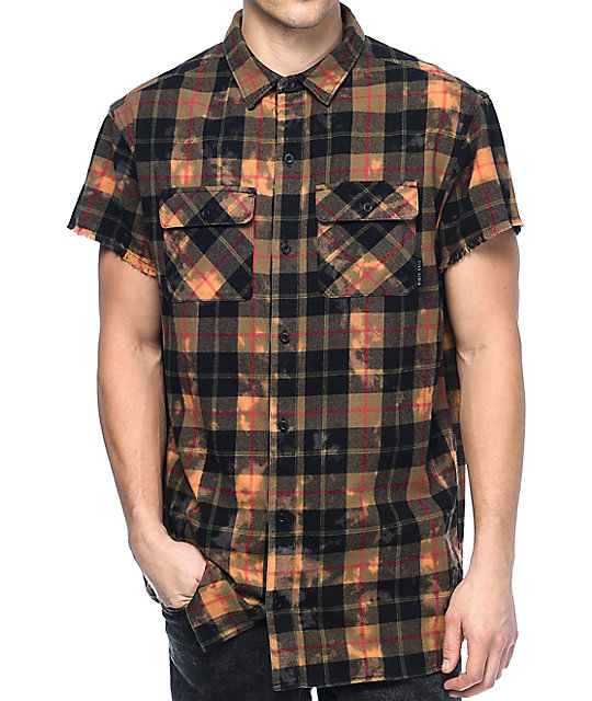 Hall Pablo Black & Bleached Short Sleeve Flannel Shirt