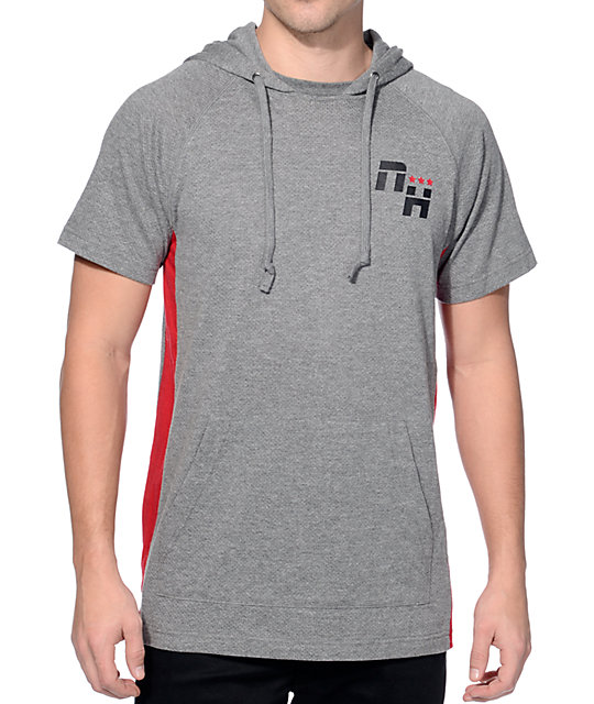 Ninth Hall Red Lines Grey and Red Mesh Short Sleeve Hoodie