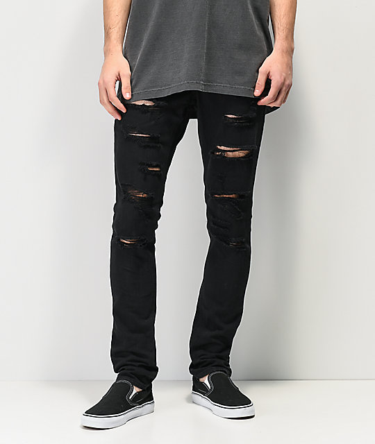 Hall Rogue Black Shredded Jeans