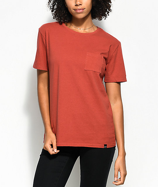 Ninth Hall Steph Dark Orange Pocket T Shirt by Ninth Hall