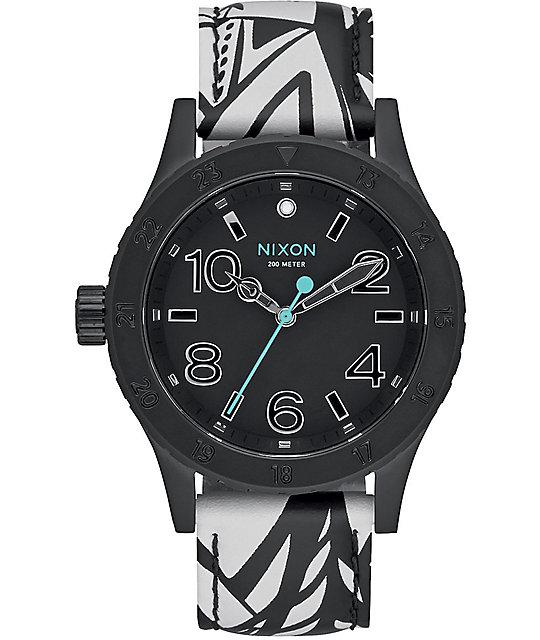 Nixon 38-20 Black & Bleach Leather Watch