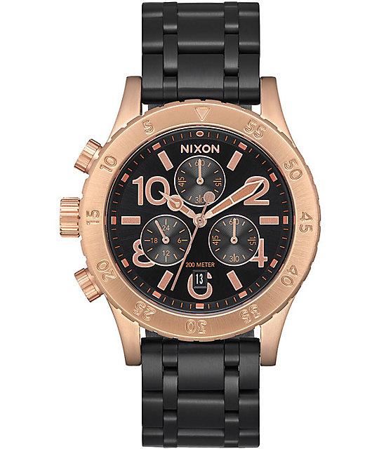 Nixon 38-20 Chrono Black & Rose Gold Analog Watch