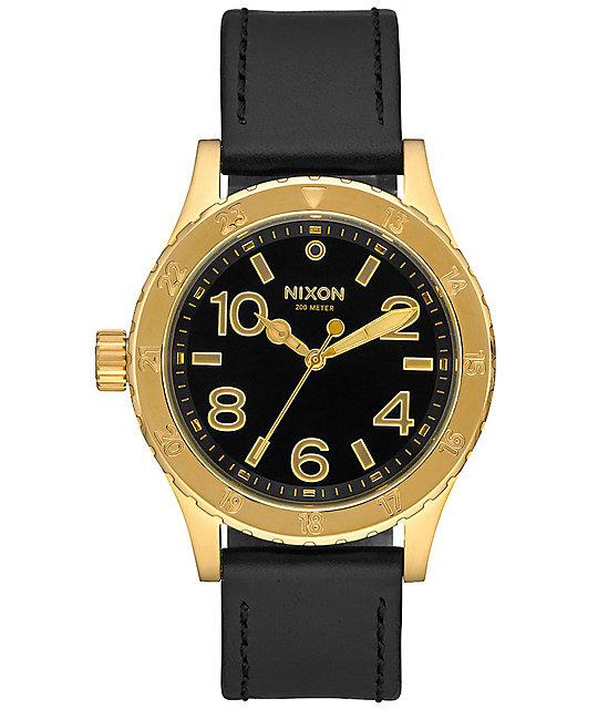 nixon 38 20 leather gold black analog at zumiez pdp